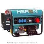 HERON benzinmotoros áramfejlesztő+HAE-3 indito automatika, max 6500 VA, háromfázisú (EGM-65 AVR-3E),  önindítós